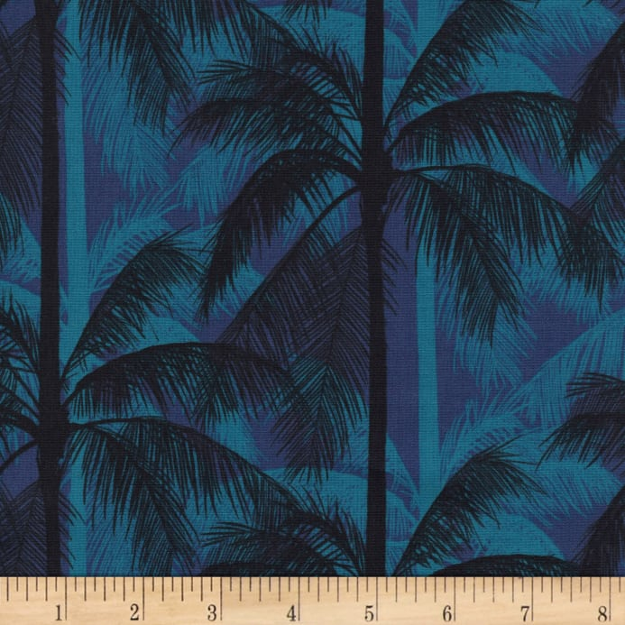 Zoom Cotton Steel Poolside Palms Blue