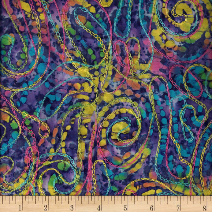 Indian Batik Embroidery Abstract Royal Discount Designer Fabric