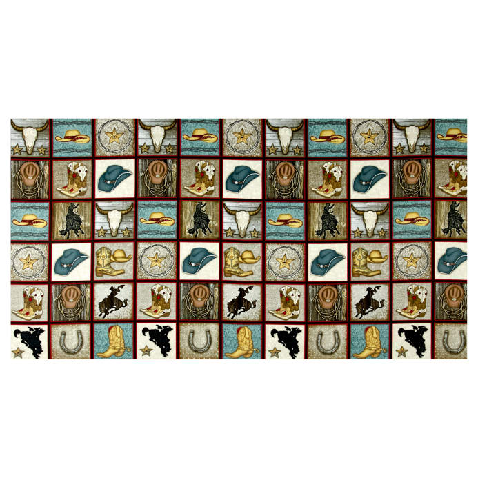 Rodeo Round Up Cowboy Motif Squares 24 Quot Panel Multi