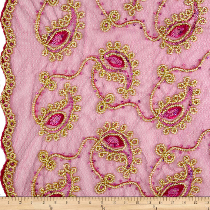 Zoom Coco Paisley Sequin Double Border Lace Hot Pink And Gold
