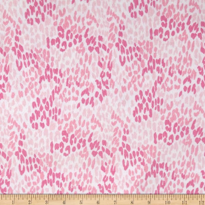 Flannel Cheetah Print Pink Fabric