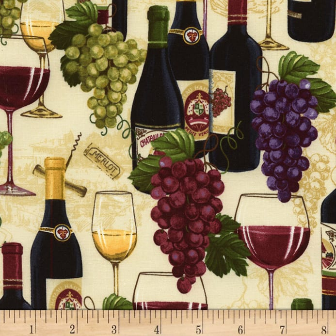 Timeless Treasures Wine Not Wine Bottles Grapes Sand Discount