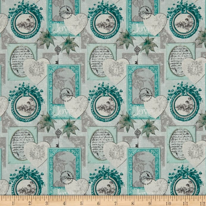 Stof France Le Quilt Belle Epoque Hearts and Frames Grey - Discount ...