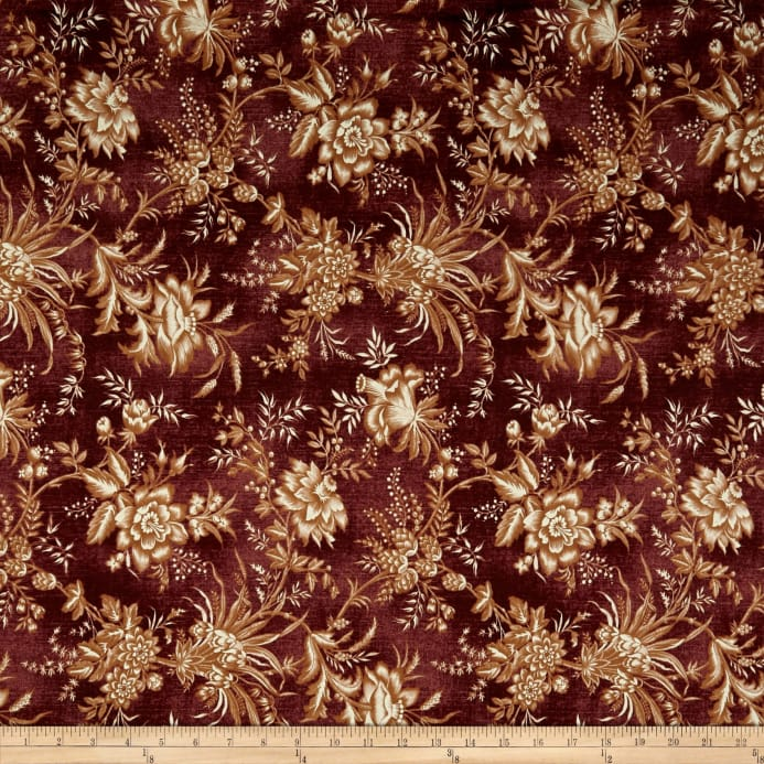St Louis Collection Large Floral Wine Discount Designer Fabric