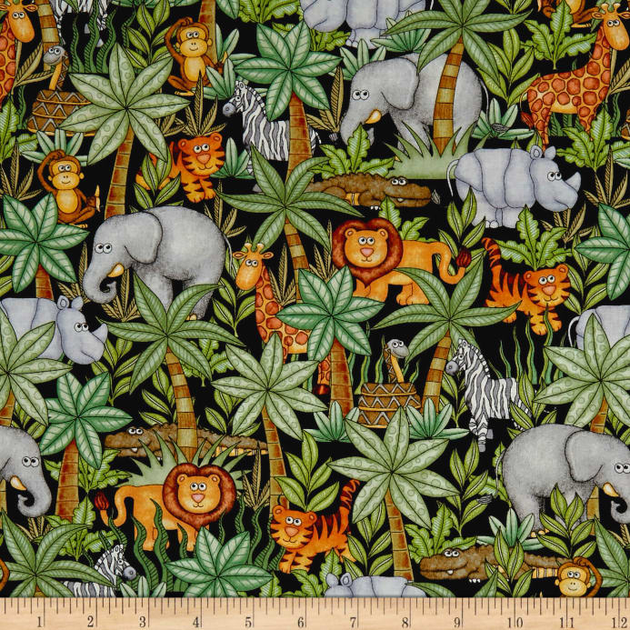 Qt Fabrics Jungle Buddies Animals Amp Palm Trees Black