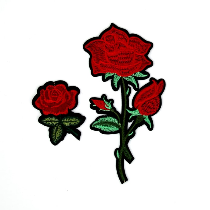 050e6822360c60 Maye Red Roses Flower Embroidered Iron On Patch -2 Pack 7