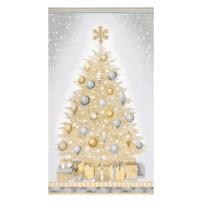 zoom kaufman winters grandeur christmas tree 24 panel metallic champagne