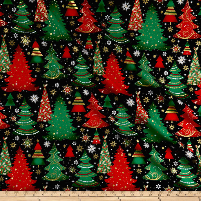zoom elegant christmas christmas trees metallic black