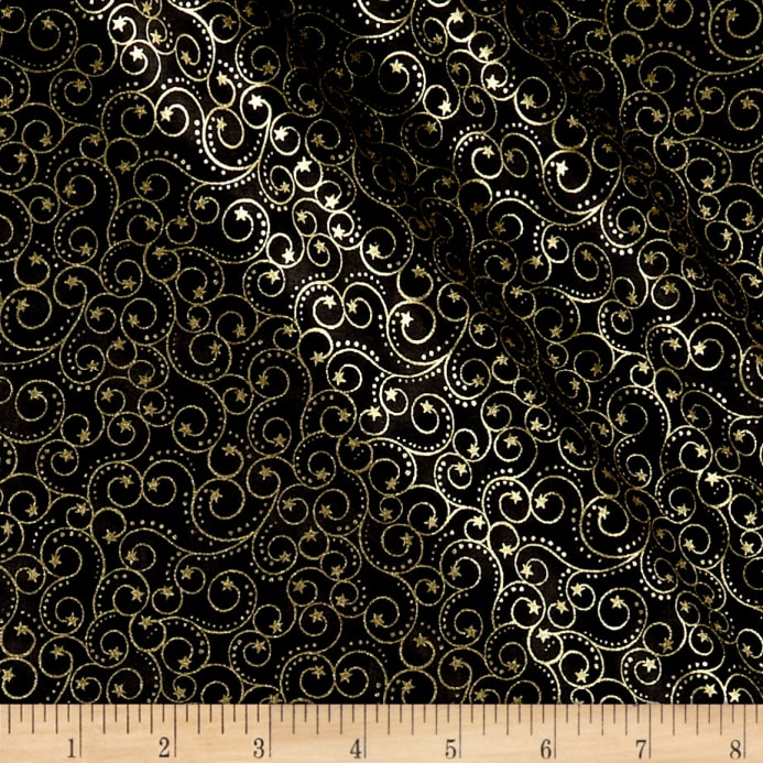 elegant christmas scroll metallic black discount designer fabric