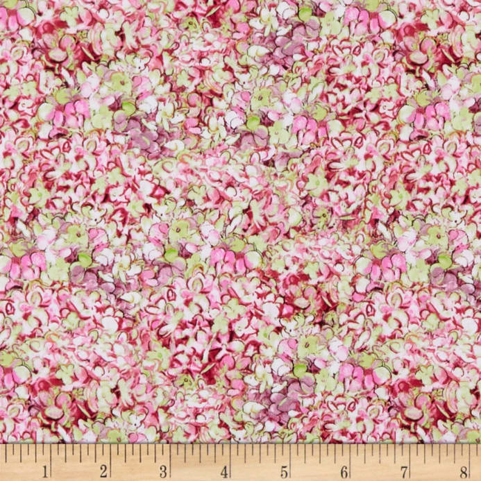Wilmington Hydrangea Dreams Packed Hydrangeas Pink Fabric