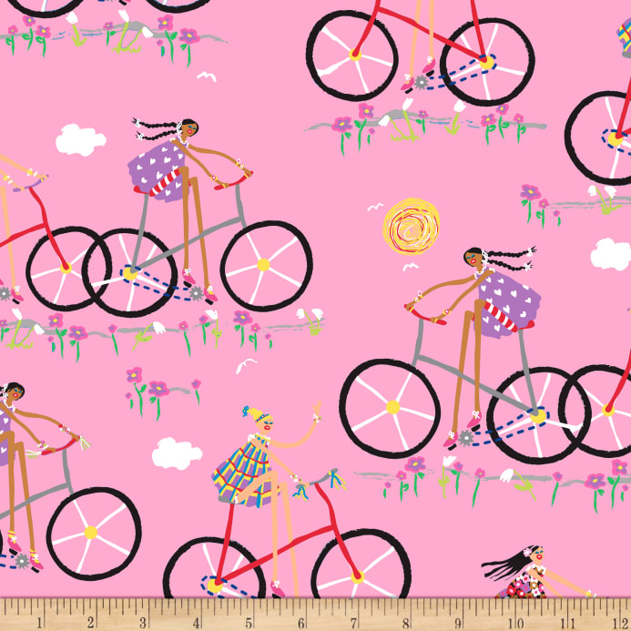 1e8342f3991 QT Fabrics City Gals Girls On Bikes Pink - Discount Designer Fabric ...