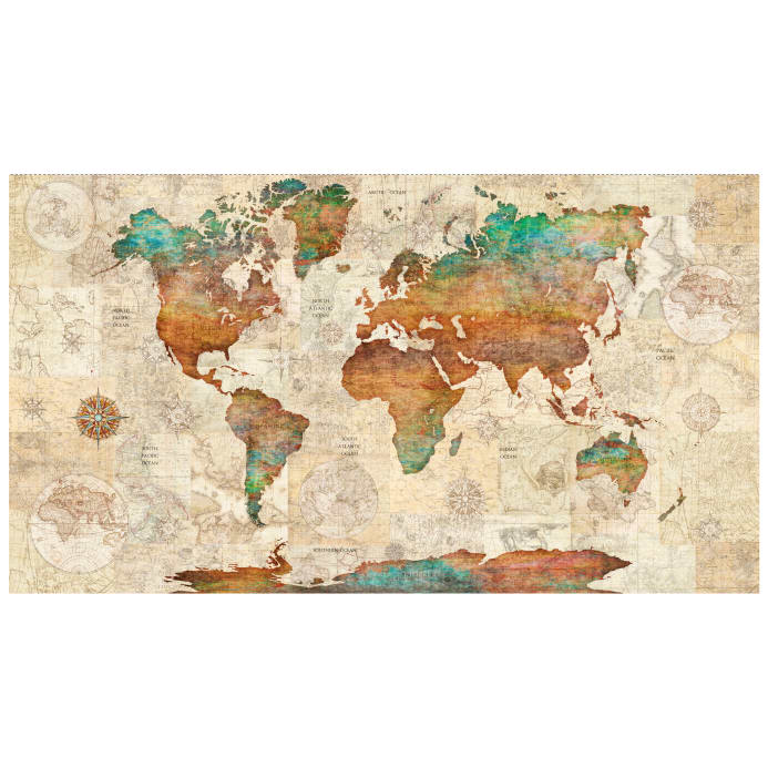 World Map Print Fabric.Qt Fabrics Wanderlust World Map 24 Panel Multi Discount Designer