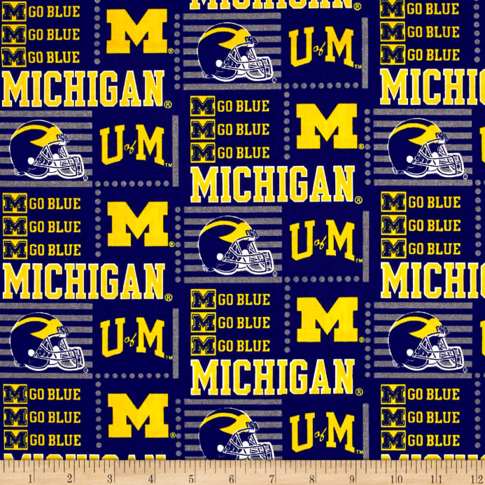 picture about Printable College Logos called NCAA College of Michigan Patch Trademarks Allover Blue/Yellow
