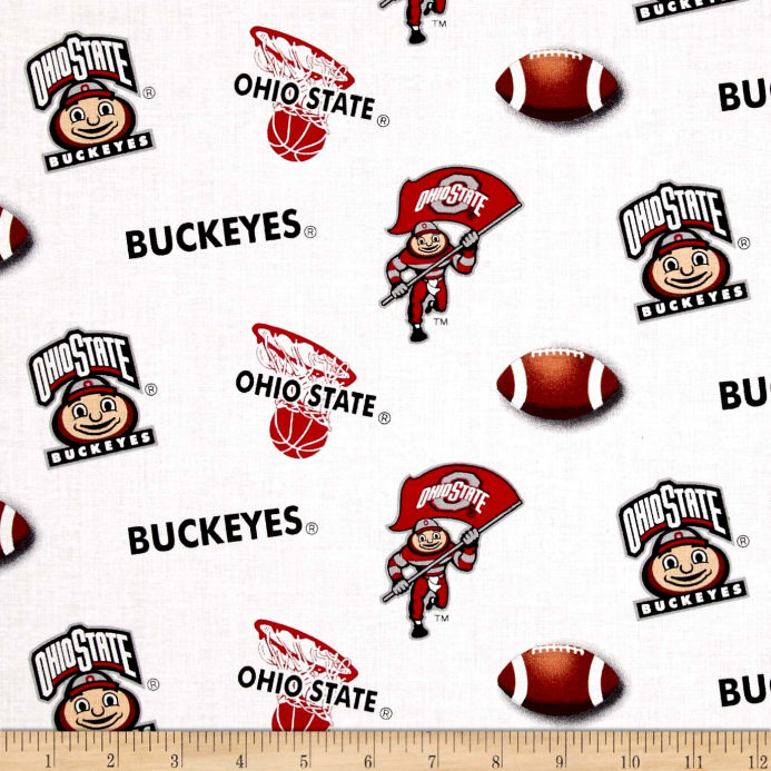 image relating to Printable College Logos named NCAA Ohio Region College Emblems Allover White Material