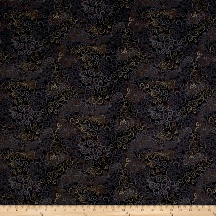 QT Fabrics Basics Ombre Scroll Blender Black Fabric