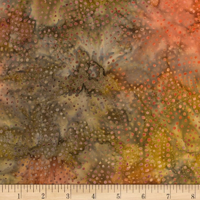 Timeless Treasures Tonga Batik Color Wheel Forest Dotty Spiral Rust