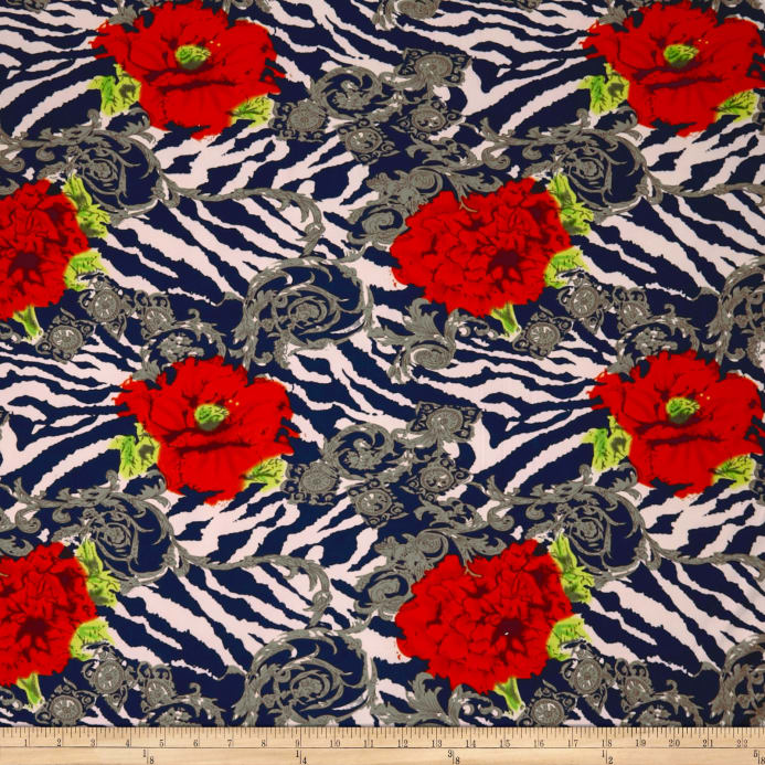 684ab8d40a9 Double Brushed Spandex Jersey Knit Floral on Zebra Print Coral/Navy Fabric