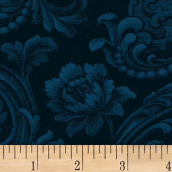 mary koval colorwall floral brocade navy discount designer fabric