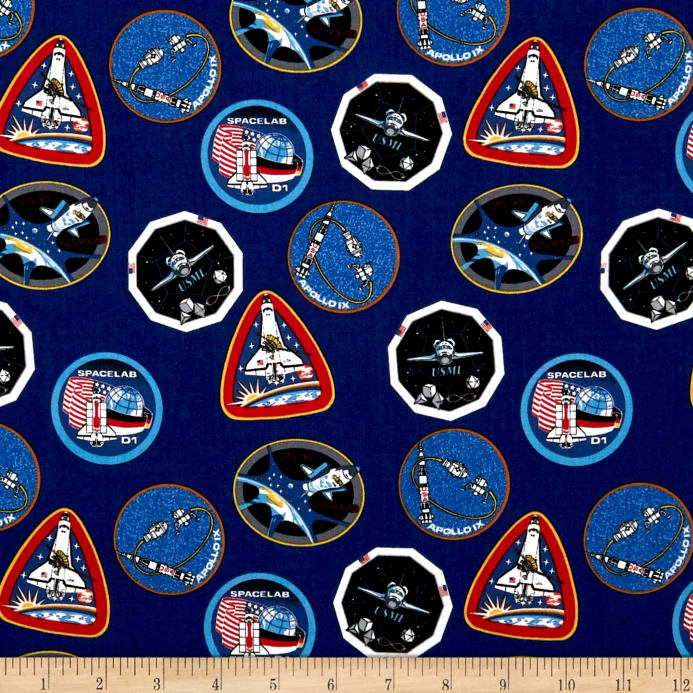 Riley Blake Out Of This World With Nasa Patches Blue Discount