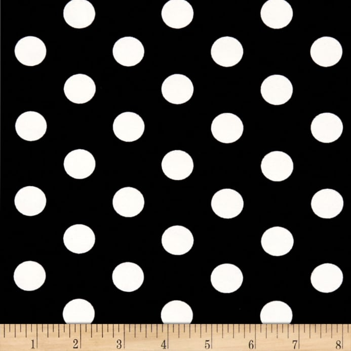 28d3b0ed7ce zoom Double Brushed Poly Jersey Knit Medium Polka Dot Ivory/Black