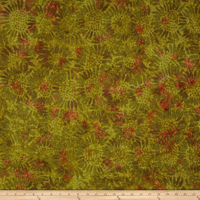 Zoom Tuscan Garden Sunflower Batik Olive/Orange
