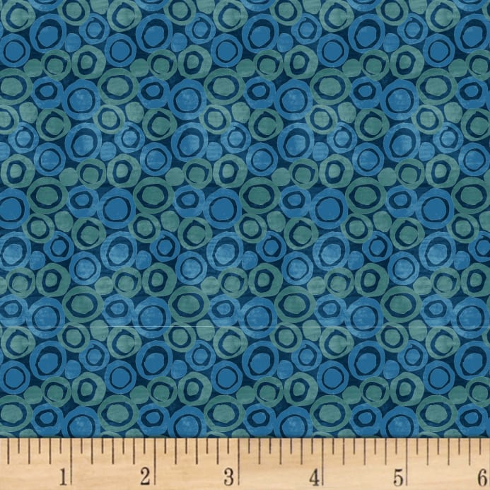 Blank Quilting Tessellations Multi Abstract Dot Navy