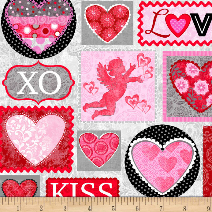 Hearts Of Love Valentine Patch Pink Red Discount Designer Fabric