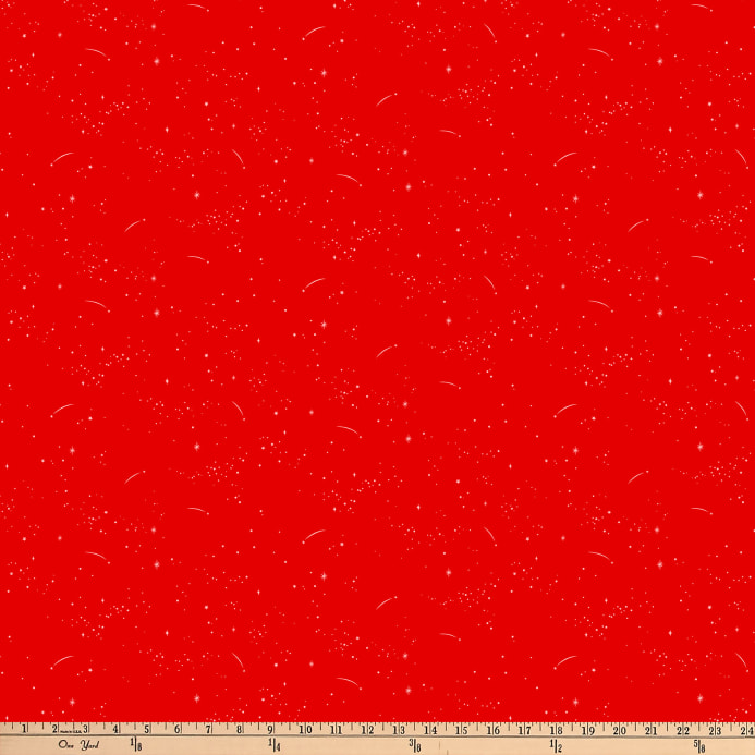 FIGO Lucky Charms Basics Shooting Stars Red Fabric