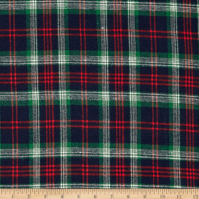 Windstar Twill Flannel Plaid Navy Red Green Natural