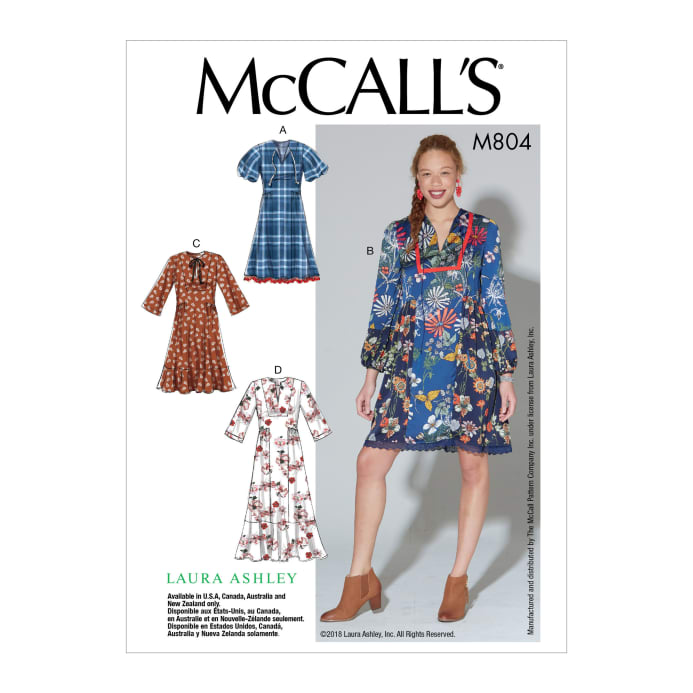 5ae9bf2dba36 McCall's M7804 Laura Ashley Misses' Dresses E5 (Sizes 14-22)