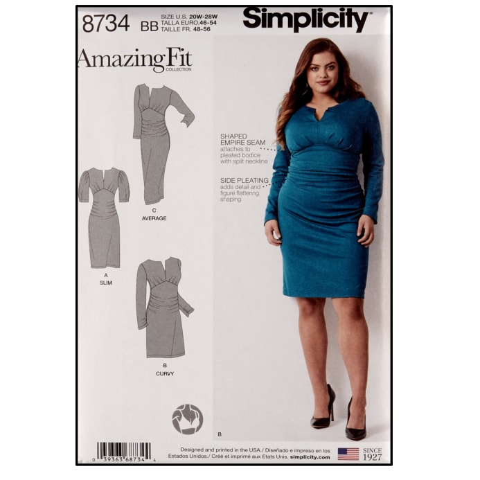 Simplicity 8734 Plus Sizes Misses\'/Women\'s Amazing Fit Dress BB (Sizes  20W-28W)