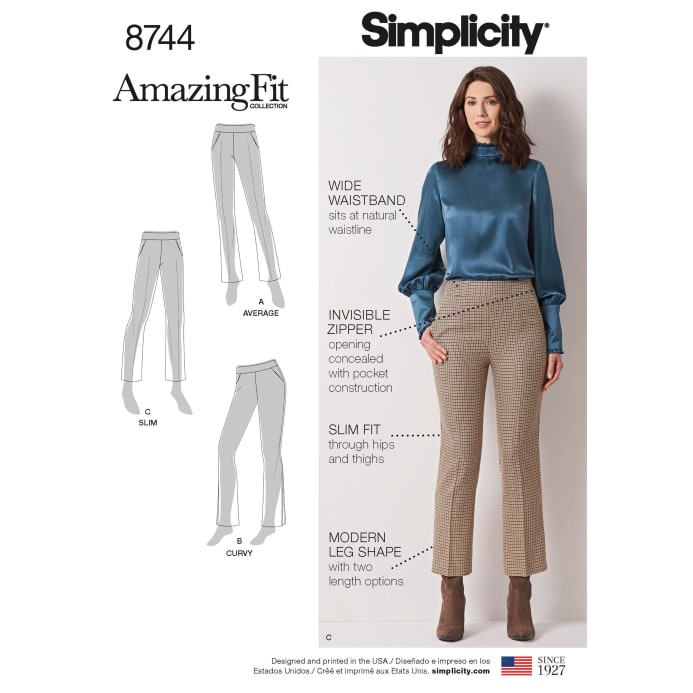 56d45350c Simplicity 8744 Misses  Women s Amazing Fit Pants AA (Sizes 10-18) -  Discount Designer Fabric - Fabric.com