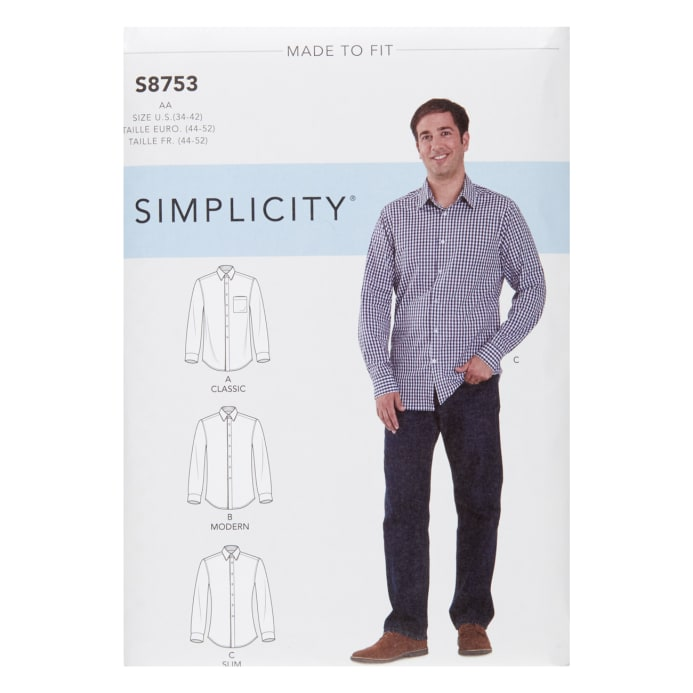85ba520a Simplicity 8753 Men's Classic, Modern and Slim-Fit Shirt AA (Sizes 34-42) -  Discount Designer Fabric - Fabric.com