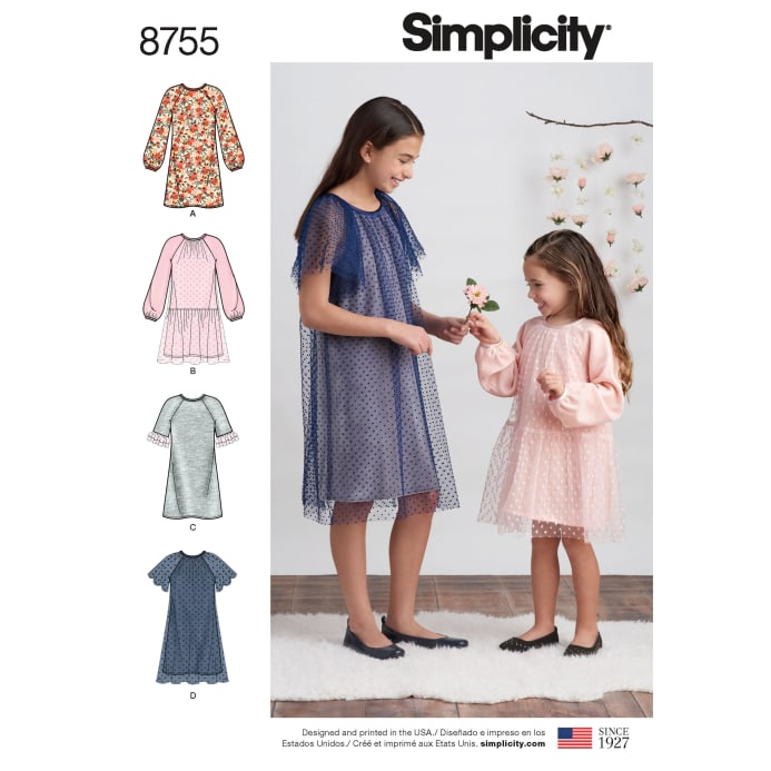 Simplicity 8755 Children S And Girls Dresses K5 Sizes 7 8 10 12 14