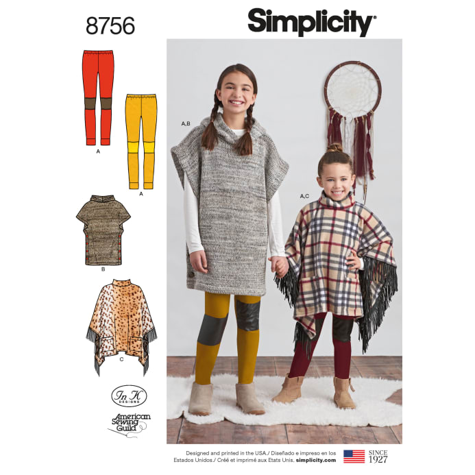 d8d26230536 Simplicity 8756 Children s and Girls  Poncho and Leggings HH (Sizes  3-4-5-6) - Discount Designer Fabric - Fabric.com