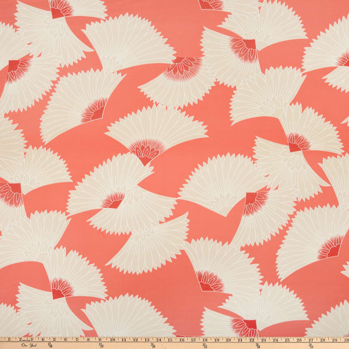 be731d77c25 Fan Print ITY Knit Coral/Tan/White - Discount Designer Fabric ...