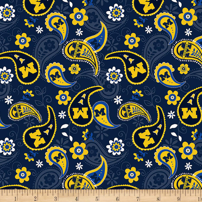 Ncaa Michigan Wolverines Paisley Cotton Fabric