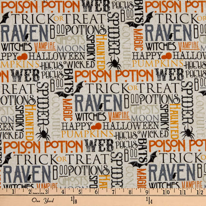 Northcott Raven's Claw Spooky Sayings Cream/Multi Fabric