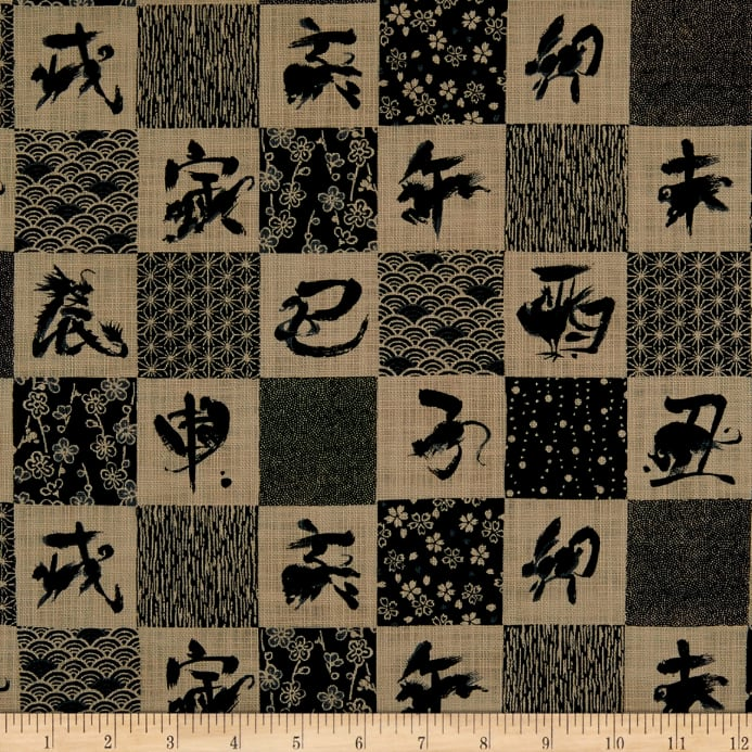 Kokka Japanese Traditional Zodiac Canvas Black Fabric