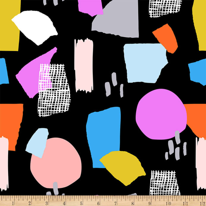 Ampersand Abstract Collage Abstract Shapes Bright Multi Black Fabric