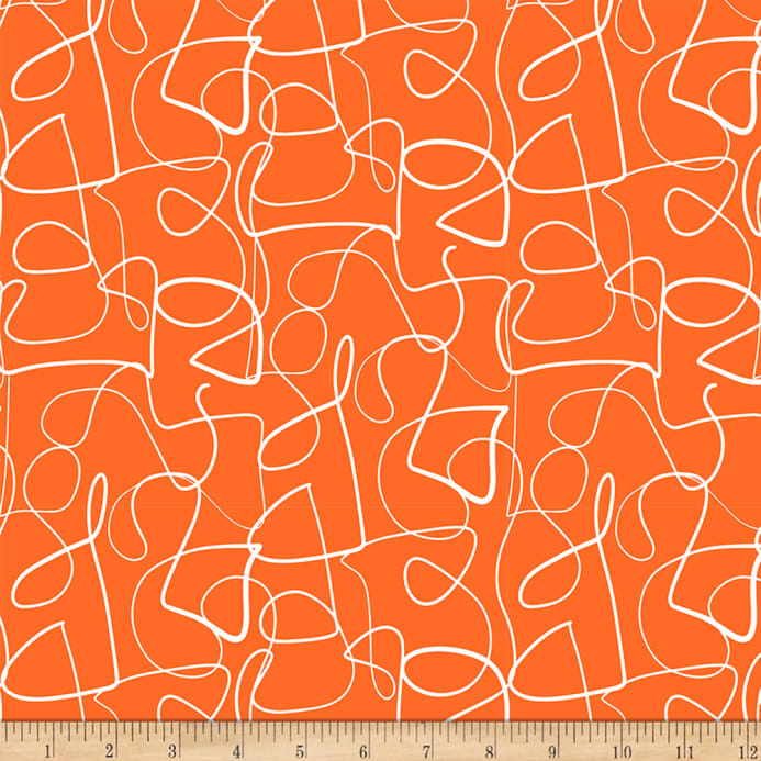 Ampersand Abstract Collage Abstract Lines White Orange Fabric