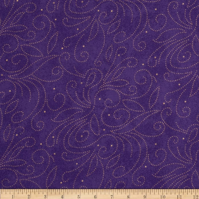 Westrade 110 Wide Quilt Backing Scroll Purple Discount Designer