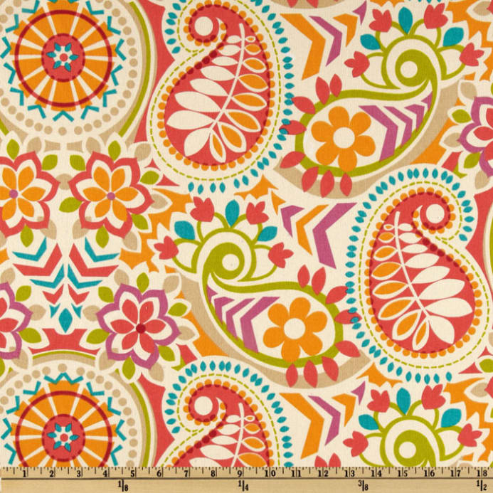Waverly Paisley Prism Twill Sorbet - Discount Designer Fabric ...