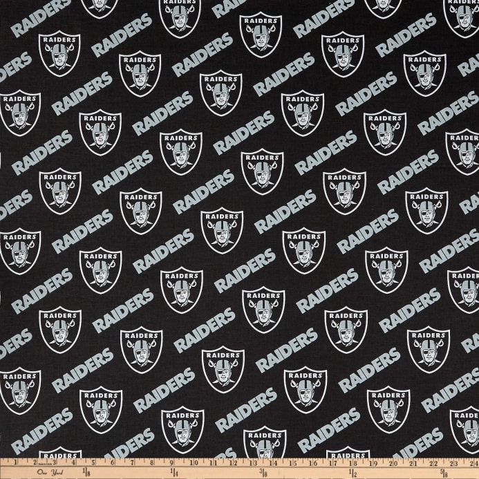 fc7783fe NFL Cotton Broadcloth Oakland Raiders Black/Silver Fabric