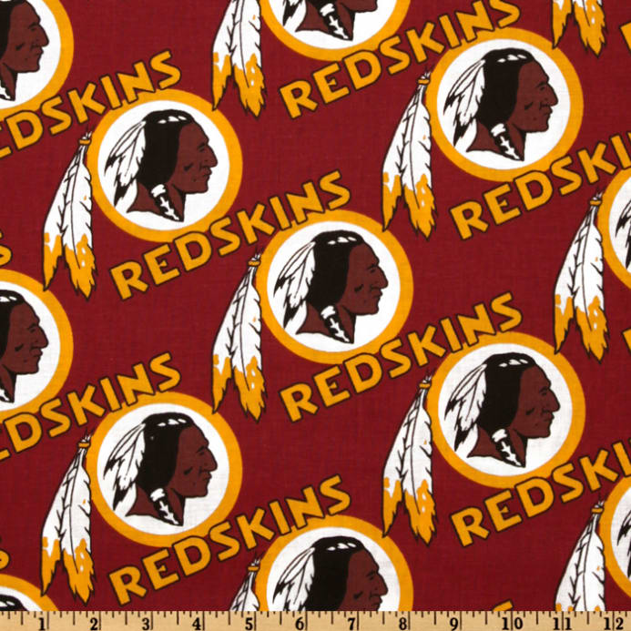 Zoom NFL Cotton Broadcloth Washington Redskins Maroon Gold