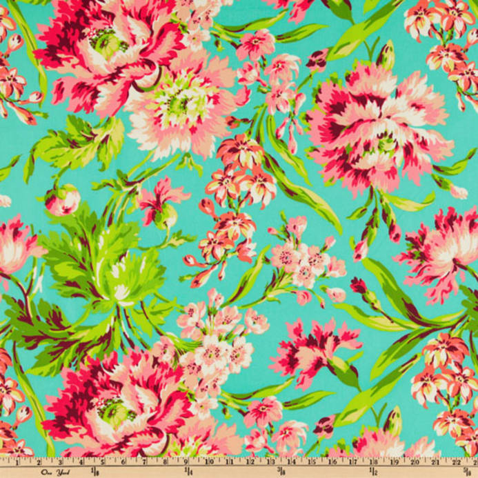 Charmant Zoom Amy Butler Love Bliss Bouquet Teal