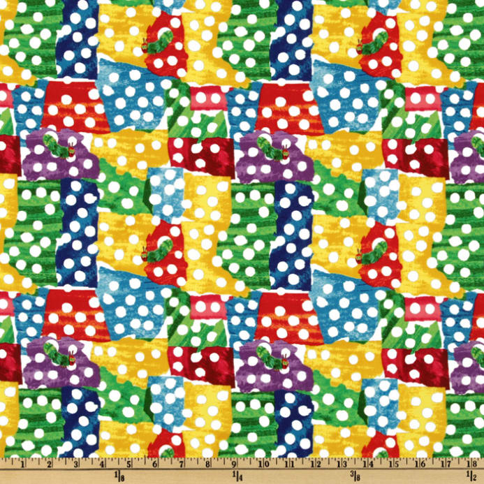 The very hungry caterpillar dots multi discount designer for Designer childrens fabric