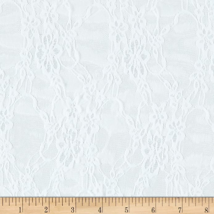 Giselle Stretch Floral Lace White Discount Designer