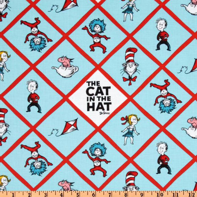 Dr Seuss Fabric Cat in The Hat Multiple Sizes Blue Thing 1 Thing 2