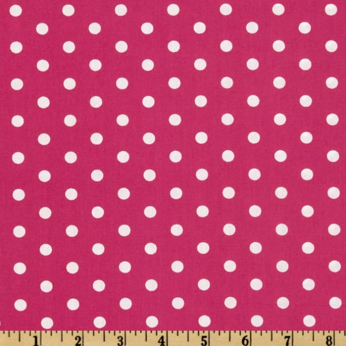 Pimatex Basics Polka Dot Hot Pink White Fabric